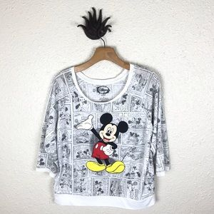Mickey Mouse print 3/4 sleeve top, size xl